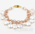 白色纽扣珍珠手链 合金链charm款
