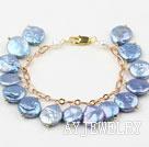 蓝色纽扣珍珠手链 合金链charm款