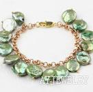 橄榄绿纽扣珍珠手链 合金链charm款