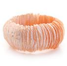 橘粉色马蹄螺中粗贝壳手环手链 手排款