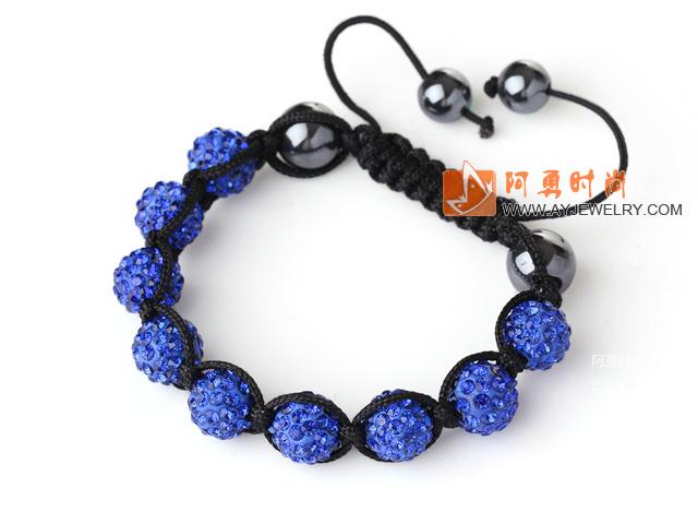 10mm宝蓝色水钻球编制手链