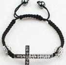 水钻球十字架手链 编织款