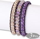天然水晶皮绳手链 3条入 单层编织款 黄水晶彩晶紫水晶