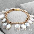 白色纽扣珍珠手链