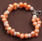 6-7mm粉白双色珍珠手链