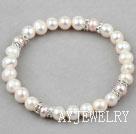 天然白珍珠紫珍珠水钻弹力手环