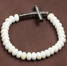 白砗磲十字架弹力手链