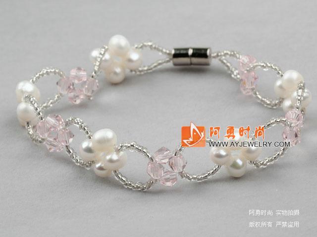 白珍珠粉水晶手链