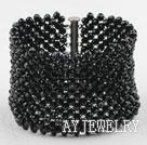 黑色时尚水晶编织手链