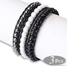 天然宝石皮绳手链 黑胆石白瓷石蓝砂石 单层皮绳编织款  3件装