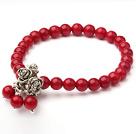 红珊瑚藏银玫瑰花弹力手链