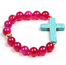 玛瑙松石十字架手链