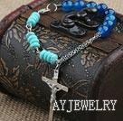 松石蓝玛瑙十字架手链