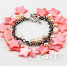 粉色珍珠贝壳手链 合金链charm款