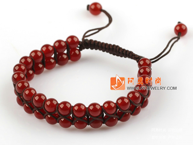 红玛瑙编织手链