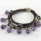 紫水晶石榴石手链 多层皮绳缠绕款