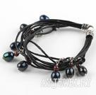 黑珍珠石榴石皮绳手链