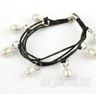 天然白珍珠皮绳手链