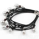 石榴石灰珍珠皮绳手链