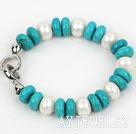 8*12mm白珍珠松石手链