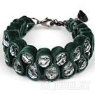 墨绿天鹅绒白水晶手链 绒布绳款