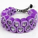 紫色天鹅绒白水晶手链 绒布绳款