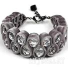 灰色天鹅绒白水晶手链 绒布绳款