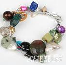 多宝石珍珠进口银丝线手链
