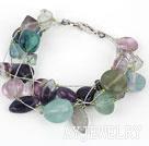 紫萤石进口银丝线手链 异形多层款