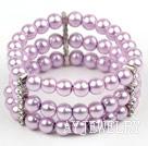 紫色贝壳珠手链手环 三层弹力线款