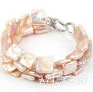 三股天然粉色方形再生珍珠手链