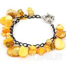 黄色珍珠贝壳水晶手链 合金链charm款