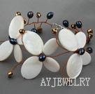 白色蝴蝶贝壳珍珠水晶手链 唯美编花款