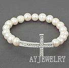 天然白珍珠十字架弹力手环