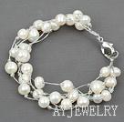 进口银线白珍珠手链