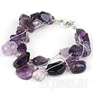 紫晶进口银丝线手链
