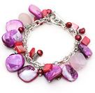 紫贝壳珍珠芙蓉石手链 合金链charm款