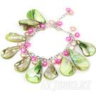 绿色贝壳珍珠手链 合金链charm款