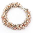 天然粉珍珠水晶手链 合金链charm款