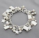 天然白珍珠白贝壳手链
