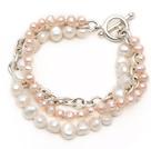 天然粉珍珠白珍珠手链 多股扭扭款