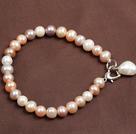 7-8mm白粉紫三色珍珠手链 配珍珠坠