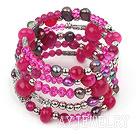 玫红水晶珍珠玛瑙多圈手环