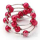 桃红色贝壳珠手链手环 弹簧款