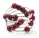 紫红色贝壳珠手链手环 弹簧款