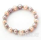 天然紫色粉色珍珠水钻圈弹力手环