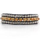 棕色水晶金属珠编织手链
