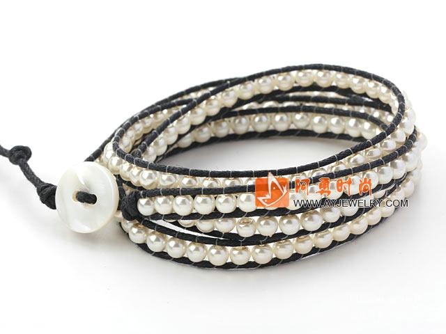 白色玻璃珠编织手链