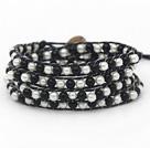 黑白玻璃珠编织手链