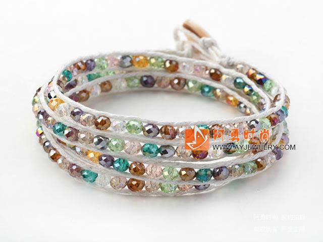 彩色玉料水晶编织手链 - 编号:y1598